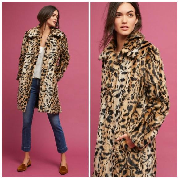 117d2657c861 Anthropologie Jackets & Coats | Nwt Leopard Print Faux Fur Coat ...